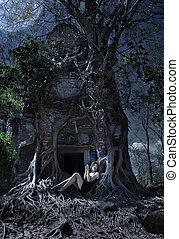 donna, tempio, entrata, arma, notte, cambogia, lanciare, giungla