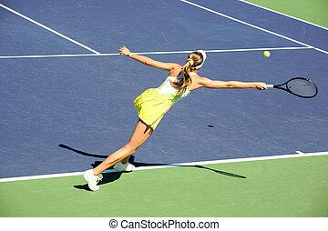 donna, tennis, gioco