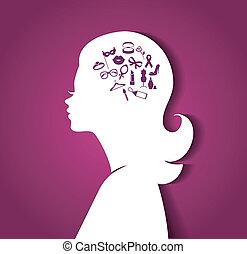 donna, testa, con, icone