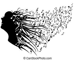 donna, testa, con, note musica