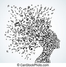 donna, testa, note musica, schizzo