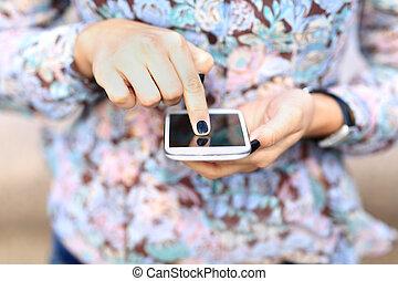donna, texting, sms, su, telefono mobile