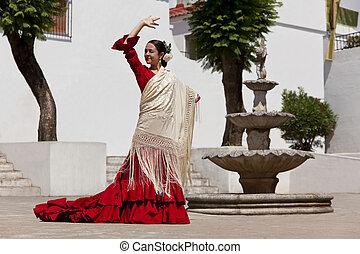 donna, tradizionale, ballerino, spagnolo, flamenco, vestire, rosso