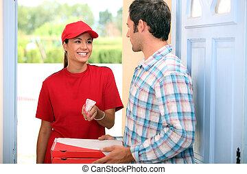 donna, trasmettere, distribuire, pizza