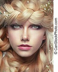 donna, tress, giovane, closeup, ritratto, fiori
