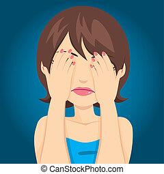 donna triste, occhi coprenti