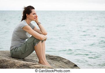 donna triste, profondo, in, sebbene