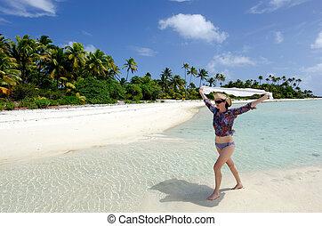 donna, tropicale, sexy, giovane, abbandonato, rilassare, isola