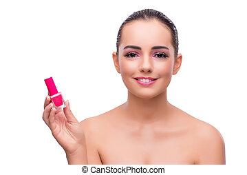 donna, tubo, isolato, smalto per unghie, bianco