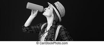donna, turista, adattare, isolato, acqua, fondo, bere