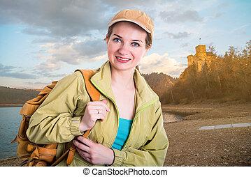 donna, turista, felice