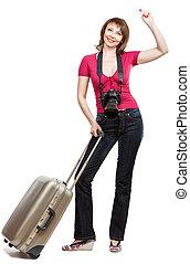 donna, turista, giovane, credito, presa a terra, scheda