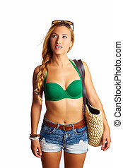 donna, turista, jeans, corto, andare, biondo, sexy, spiaggia