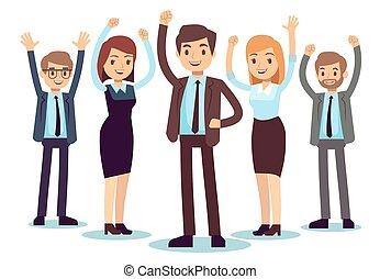 donna, ufficio, affari, riuscito, persone., carattere, vettore, uomo, felice