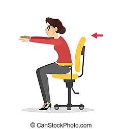 donna, ufficio., allenamento, rottura, durante, esercizio