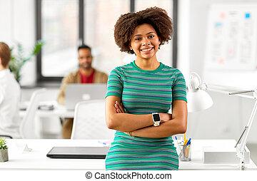 donna, ufficio, americano, africano, sorridere felice