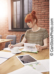donna, ufficio, lavorativo
