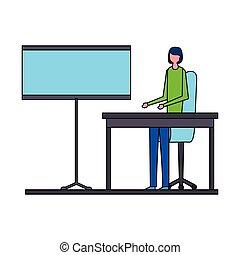 donna, ufficio, lavorativo, seduta