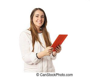 donna, ufficio, pc tavoletta, bianco, lettura, felice