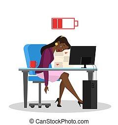 donna, ufficio, stanco, seduta, lavoratore, annoiato, tavola.