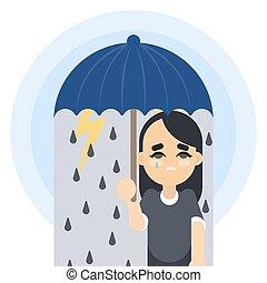 donna, umbrella., triste