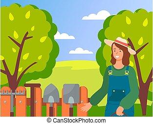 donna, uniforme, attrezzi, il portare, giardino, felice, giardiniere, cappello, sorridente, fondo