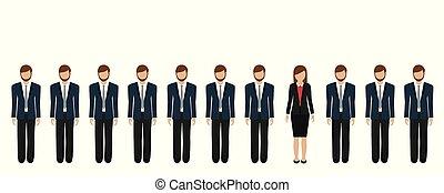 donna, uomini affari, affari, fra