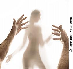 donna uomo, concettuale, immagine, abusare