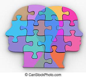donna uomo, coppia, facce, problema, puzzle