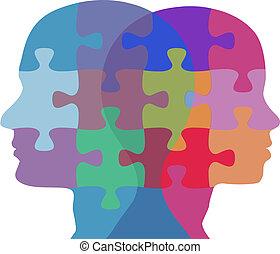 donna uomo, faccia, persone, problema, puzzle