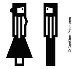 donna uomo, isolato, pictograms, fondo