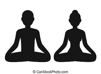 donna uomo, meditare
