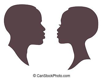 donna uomo, silhouette, africano, faccia