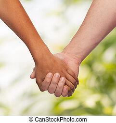 donna uomo, tenere mani