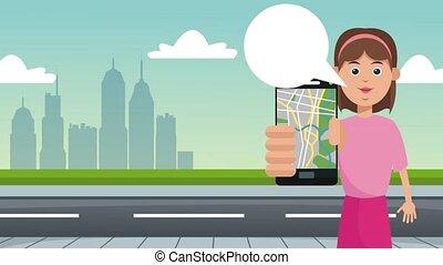 donna, usando, tassì, app, hd, animazione