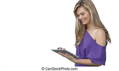 donna, usando, uno, tavoletta, computer