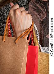 donna, vario, borse, mano, regalo, presa a terra