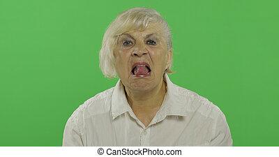 donna, vecchio, carino, chroma, anziano, nonna., chiave, mostra, tongue., felice