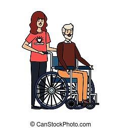 donna, vecchio, carrozzella, giovane, volontario, uomo
