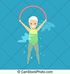 donna, vecchio, esercizio, stagno, nuoto