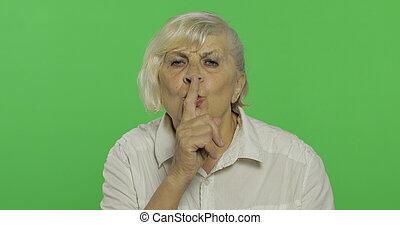 donna, vecchio, esposizione, chroma, gesture., anziano, nonna., chiave, shh
