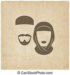 donna, vecchio, fondo, musulmano, uomo