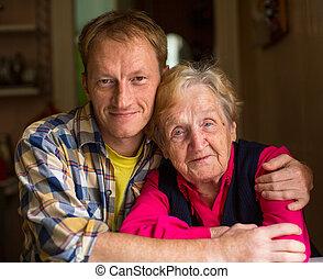 donna, vecchio, grandson., adulto