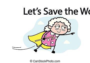 donna, vecchio, -, illustrazione, vettore, nonna, super,...
