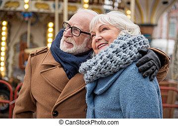 donna, vecchio, insieme, tempo, godere, gioioso, uomo