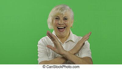 donna, vecchio, proibito, chroma, gesture., anziano, fermata, nonna., chiave, mostra