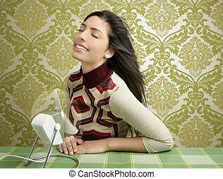 donna, vendemmia, carta da parati, aria, anni sessanta, ventilatore, retro