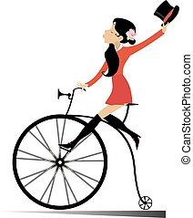 donna, vendemmia, giovane, isolato, bicicletta, attraente, cavalcate