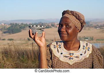 donna, vendita, zulu, cesti, tradizionale, filo, africano