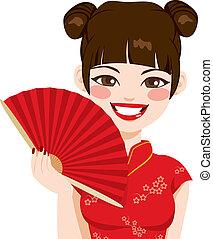 donna, ventilatore, cinese, presa a terra